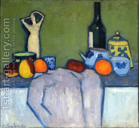 Still Life with Fruit, Figurine and Bottle by Alexei Jawlensky - Reproduction Oil Painting