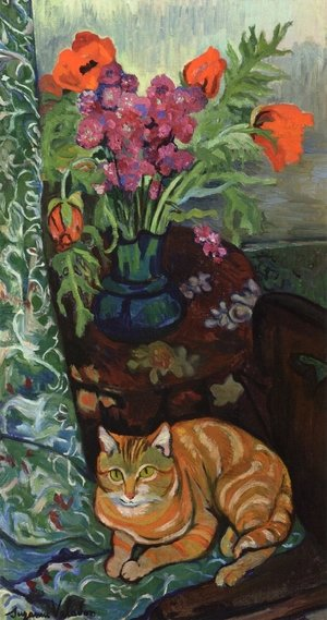 Reproduction oil paintings - Suzanne Valadon - Cat Lying in front of a Bouquet of Flowers