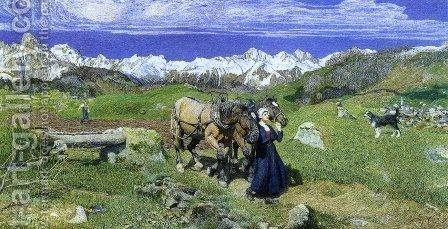 Springtime in the Alps by Giovanni Segantini - Reproduction Oil Painting