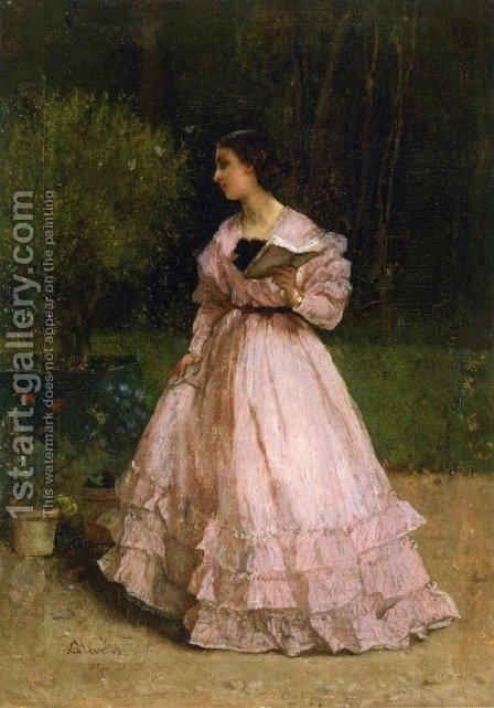 In the Garden by Alfred-Emile-Leopole Stevens - Reproduction Oil Painting
