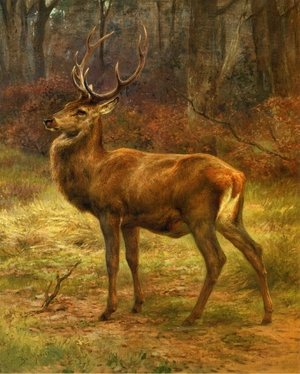 Famous paintings of Trees: Stag in an Autumn Landscape