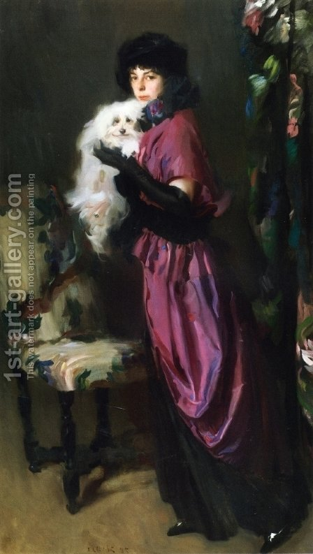 Elegant Woman with Her Dog by Albrogio Alciati - Reproduction Oil Painting