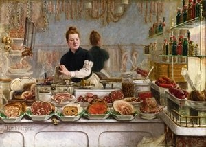 Famous paintings of Meat: A Pork Butcher's Shop