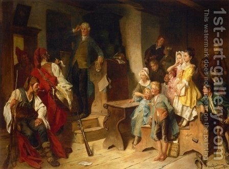 The Interrupted Lesson by Adolf Eberle - Reproduction Oil Painting