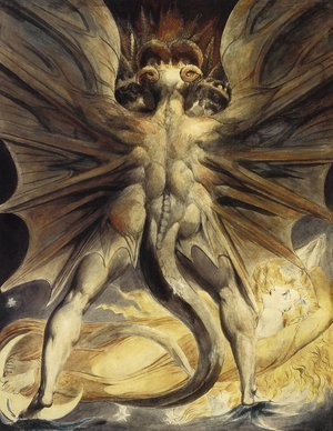 Reproduction oil paintings - William Blake - The Great Red Dragon and the Woman Clothed in Sun