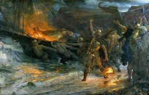 Famous paintings of Ocean Scenes: Funeral of a Viking