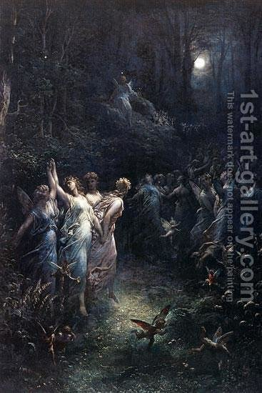 La Parque et L'Amour by Gustave Dore - Reproduction Oil Painting