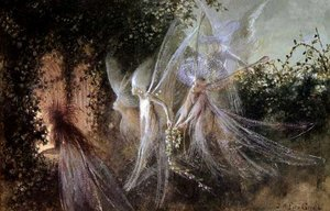 Famous paintings of Fairies: Fairies Looking through a Gothic Arch