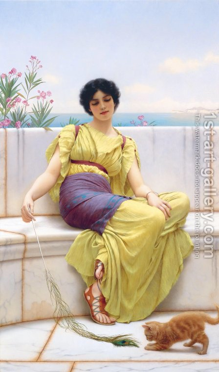 John William Godward: Idleness II - reproduction oil painting