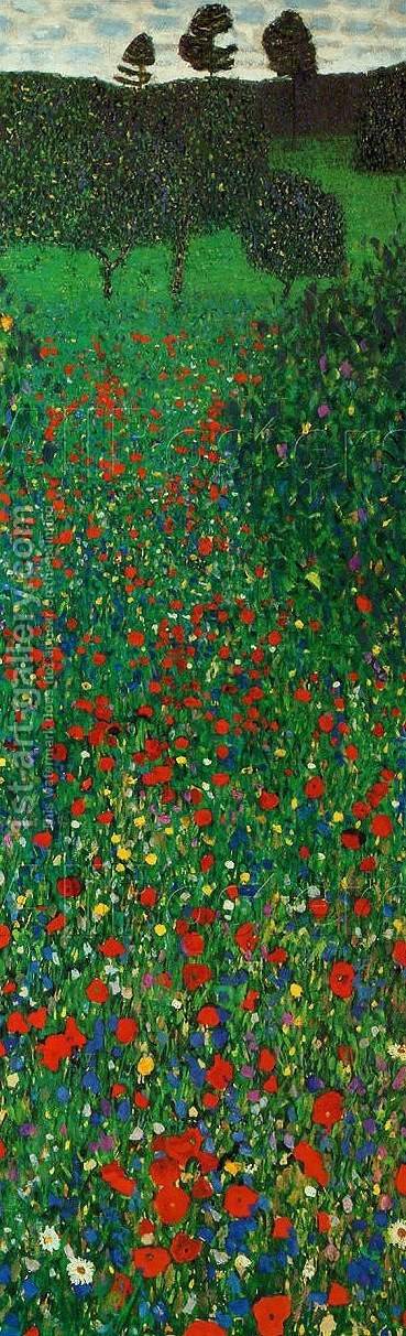 Gustav Klimt: A Field of Poppies - reproduction oil painting