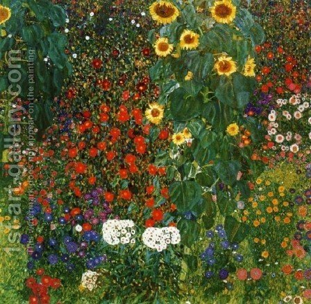 Gustav Klimt: Cottage Garden with Sunflowers - reproduction oil painting