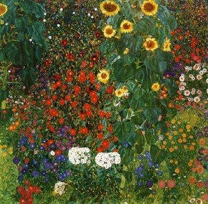 Reproduction oil paintings - Gustav Klimt - Cottage Garden with Sunflowers