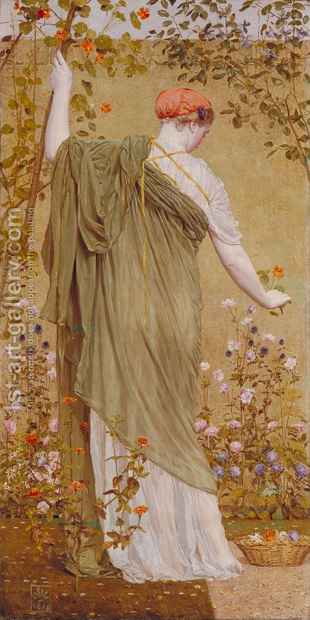 A Garden by Albert Joseph Moore - Reproduction Oil Painting