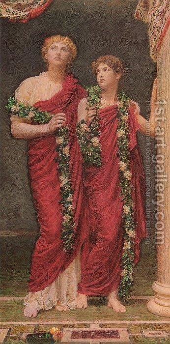 A Garland by Albert Joseph Moore - Reproduction Oil Painting