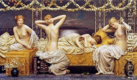 A Summer Night by Albert Joseph Moore - Reproduction Oil Painting