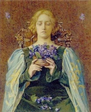 Reproduction oil paintings - Henry Meynell Rheam - Violets