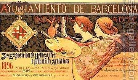 Poster for the 'Third Barcelona Exposition' by Alejandro de Riquer - Reproduction Oil Painting