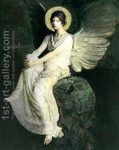 Winged Figure Seated Upon a Rock by Abbott Handerson Thayer - Reproduction Oil Painting
