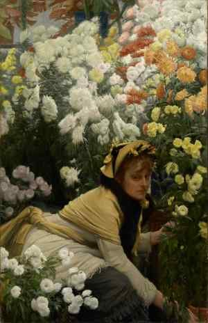 Reproduction oil paintings - James Jacques Joseph Tissot - Chrysanthemums