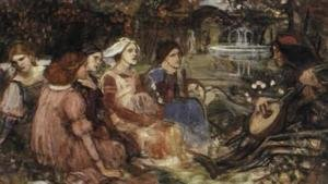 Reproduction oil paintings - Waterhouse - Study for A Tale from the Decameron