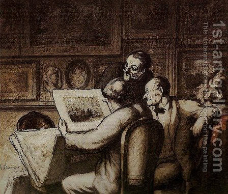 Print Collectors I by Honoré Daumier - Reproduction Oil Painting