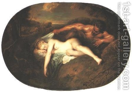 Nymph and Satyr by Jean-Antoine Watteau - Reproduction Oil Painting