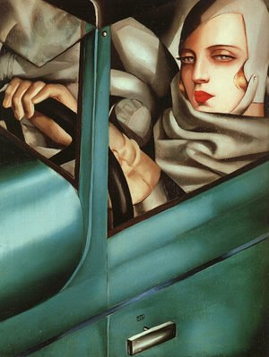 Famous paintings of Cars: Self-Portrait in the Green Bugatti