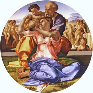 Reproduction oil paintings - Michelangelo - Holy Family with the Infant St. John (Doni Tondo)