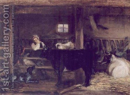 In a Byre by Adam Chmielowski - Reproduction Oil Painting