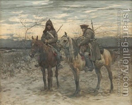 Alfred Wierusz-Kowalski: Patrol on Horses - reproduction oil painting