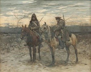 Reproduction oil paintings - Alfred Wierusz-Kowalski - Patrol on Horses