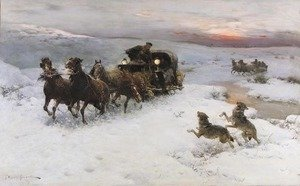 Alfred Wierusz-Kowalski reproductions - Attack of Wolves I