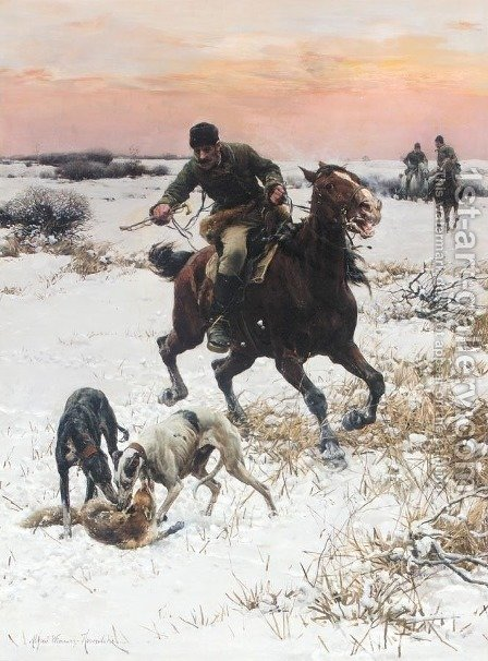 Hunt by Alfred Wierusz-Kowalski - Reproduction Oil Painting