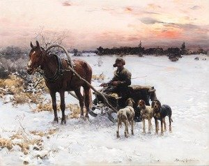 Reproduction oil paintings - Alfred Wierusz-Kowalski - Horse Drawn Sled at Dusk