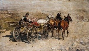 Reproduction oil paintings - Alfred Wierusz-Kowalski - Troika on a Dusty Road