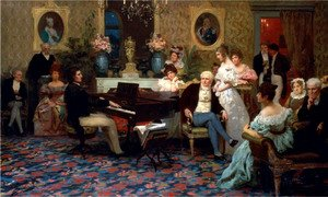Famous paintings of Furniture: Chopin Playing the Piano in Prince Radziwill's Salon, 1887