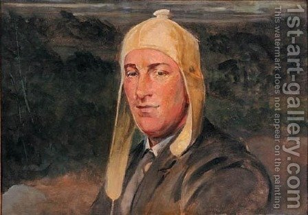 Portrait of His Son Rafal in a Cycling Cap by Jacek Malczewski - Reproduction Oil Painting
