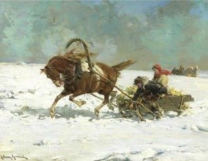Reproduction oil paintings - Alfred Wierusz-Kowalski - Sleigh