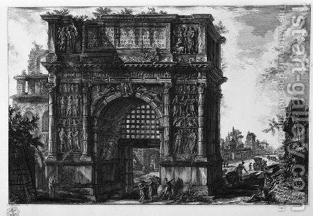 Veduta dell'Arco di Benevento nel regno di Napoli by Giovanni Battista Piranesi - Reproduction Oil Painting