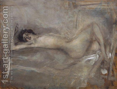 Nudo di donna in grigio (Sinfonia in grigio) by Giovanni Boldini - Reproduction Oil Painting