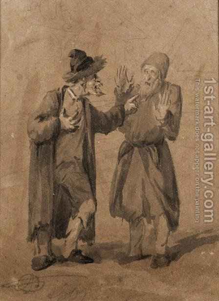 Two Jews Quarrelling by Aleksander Orlowski - Reproduction Oil Painting