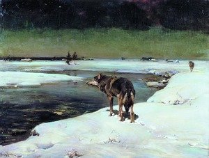 Reproduction oil paintings - Alfred Wierusz-Kowalski - Wolf at Night (Wolfe in der Nacht)
