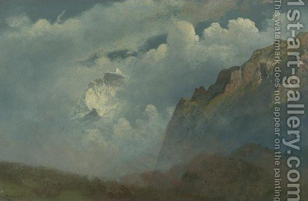 Mountain Peaks in the Clouds by Albert Bierstadt - Reproduction Oil Painting