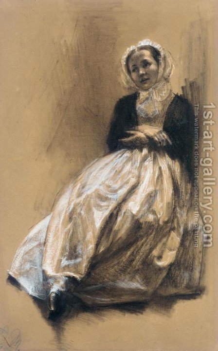 Emilie, the Artist's Sister (Emilie, Menzels Schwester) by Adolph von Menzel - Reproduction Oil Painting