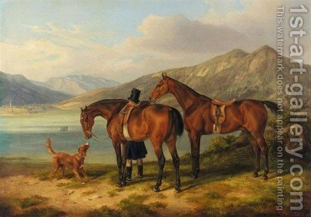 Rider and Two Bays by a Lake (Reiter und zwei Pferde am See) by Albrecht Adam - Reproduction Oil Painting