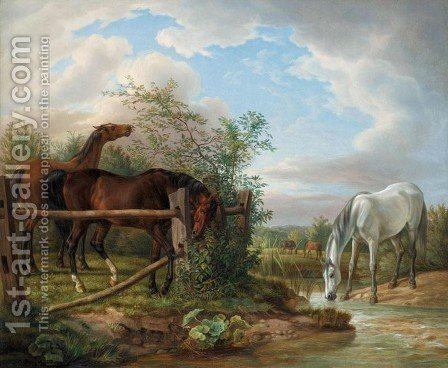 Thoroughbreds in a Paddock (Vollbluter auf der Koppel) by Albrecht Adam - Reproduction Oil Painting