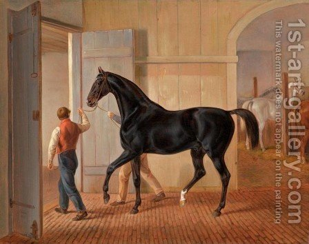 Stallion Logic (Der Hengst Logic) by Albrecht Adam - Reproduction Oil Painting