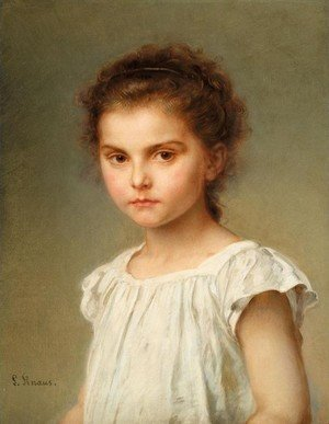 Reproduction oil paintings - Ludwig Knaus - Half-length Portrait of a Girl (Brustbild eines kleinen Madchens)