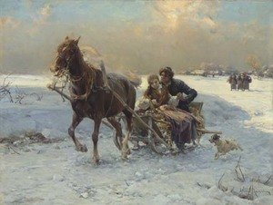 Reproduction oil paintings - Alfred Wierusz-Kowalski - Sleigh Ride I