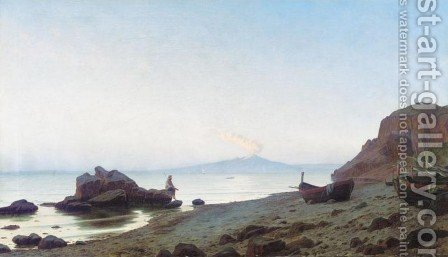 Evening on the Shores of Capri (Aftenstemming pa Capri) by Harald Schumacher - Reproduction Oil Painting